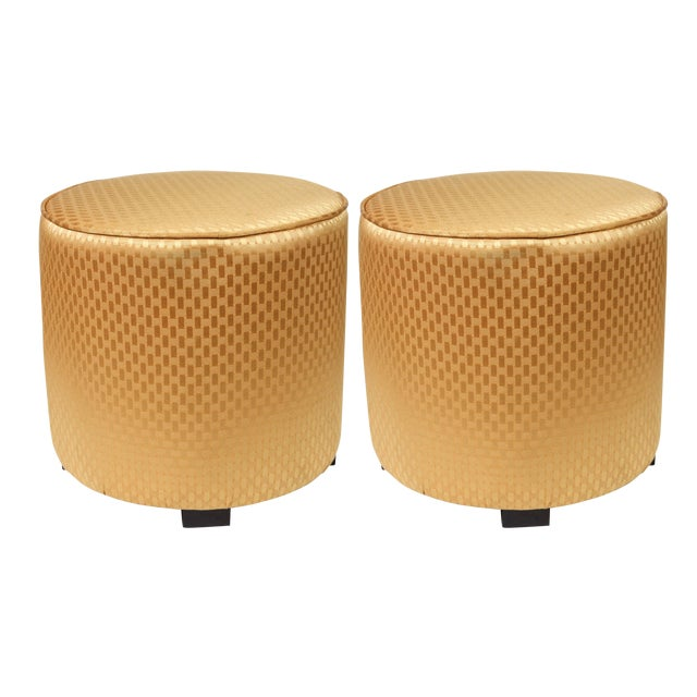 Gold Vintage Mid Century Gold Moroccan Stools- a Pair For Sale - Image 8 of 8
