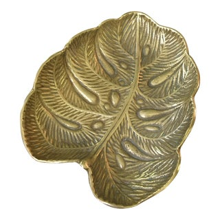 Virginia Metalcrafters 1940's Brass Monstera Leaf Tray For Sale