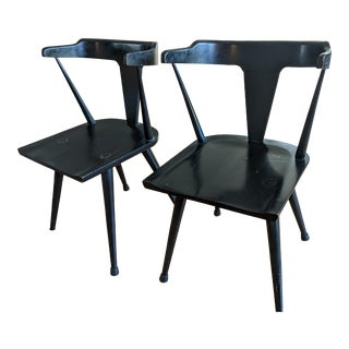 Paul McCobb T-Back Black Lacquered Solid Maple Chairs - a Pair For Sale