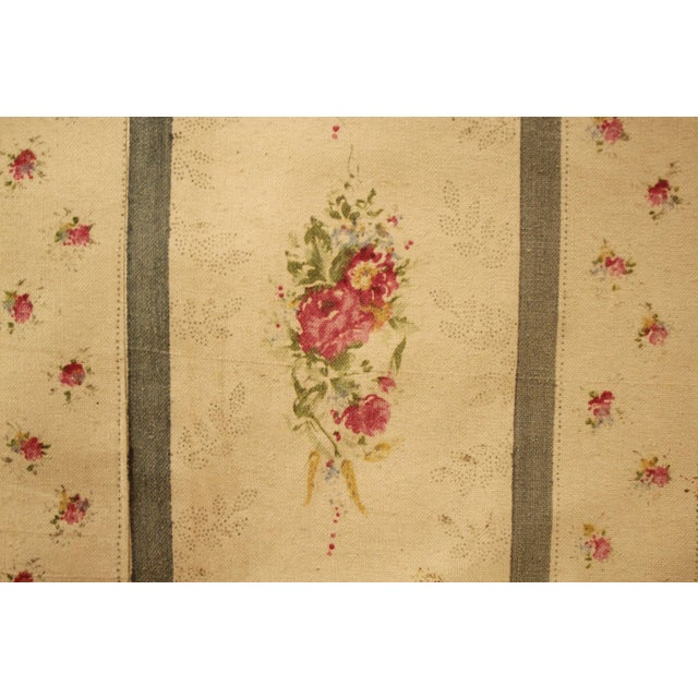 Antique French Blue Striped Floral Curtain For Sale - Image 10 of 10