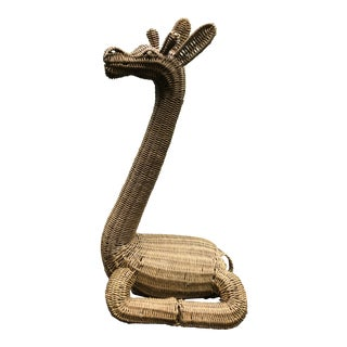 Vintage 1970s Rattan Seated Giraffe For Sale