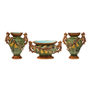 19th Century, French Three-Piece Set Barbotine Vases and Jardinière With Pears For Sale