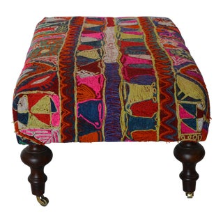 Handwoven Kurdish Ottoman For Sale