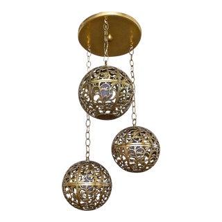 1950s Trio Pierced Brass Asian Ceiling Light Pendant Chandelier For Sale