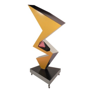Modern Abstract Painted Steel Freestanding Sculpture by Bruce Gray For Sale
