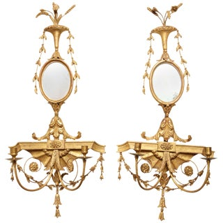 Pair of Adam Carved Gilt Appliques For Sale