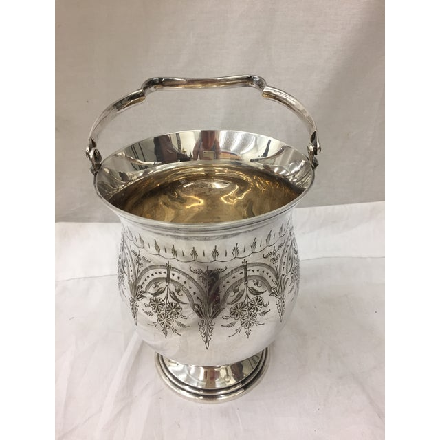 "Stunning Antique Etched Engraved Silver Vase with Handle & Hallmarks. Approx Measurements 10.5"" High with Handle Upright..."