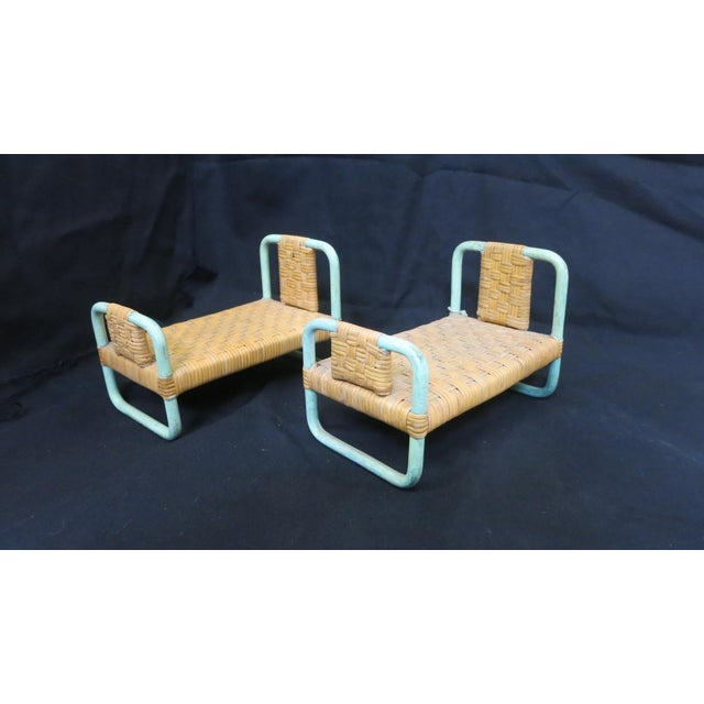 Glass 1930s - 1940s Paul Frankl Salesman Sample Miniature Rattan Furniture - 3 Pc. Set For Sale - Image 7 of 8