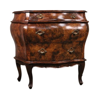Vintage Italian Rococo Style Bombe Walnut 3 Drawer Commode Chest Nightstand For Sale