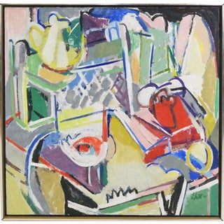 Mid Century Abstract Expressionist 'Still Life With Telephone' Oil Painting on Canvas For Sale