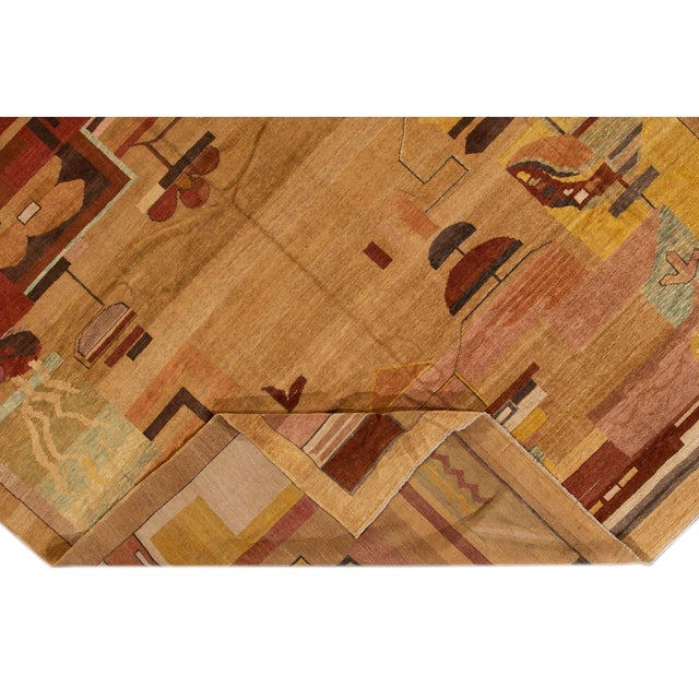 Beautiful Vintage Art Deco Style Square wool rug with a tan field, and multi-color accents in an all-over geometric...