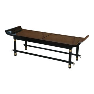 Black Lacquer and Brass-Mounted Bench, Attr. James Mont For Sale