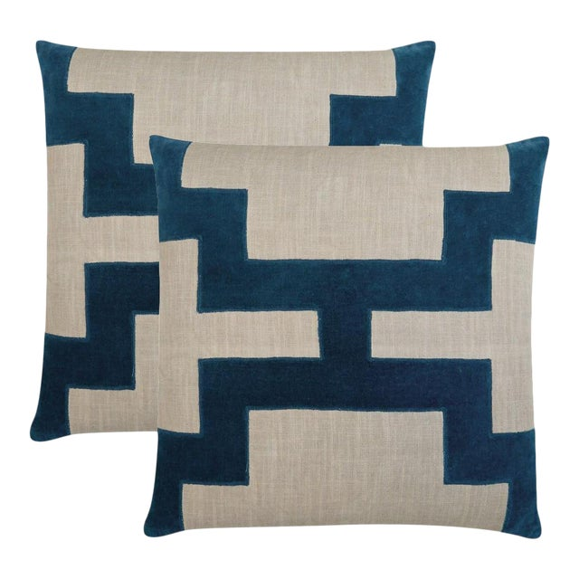 """Piper Collection Blue Velvet """"Catie"""" Pillows - a Pair For Sale"""
