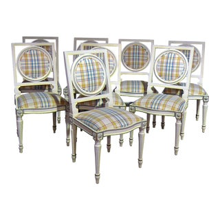 20th Century Louis XVI Style Dining Side Chairs - Set of 8 For Sale