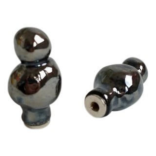 Metallic Black Lamp Finials - A Pair