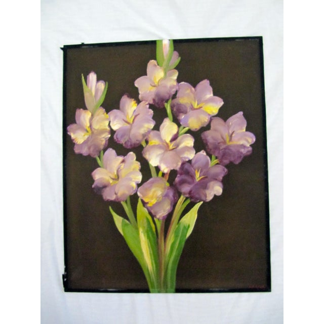 Traditional 1940's Still Life Floral Paintings on Silk-3 Pieces For Sale - Image 3 of 8