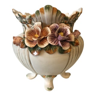 Antique Porcelain Hand Painted Vase Made in Italy For Sale