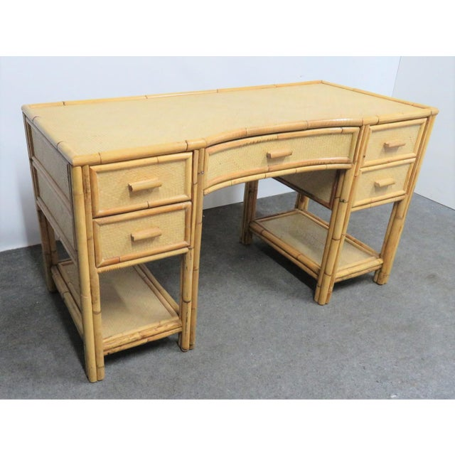 Victorian Style Bamboo & Woven Desk, woven with bamboo accents, 5 drawers with lower shelves on each side.