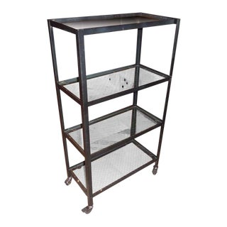 Steel Rolling Cart with 4-Salvaged Chicken Wire Glass Shelves For Sale