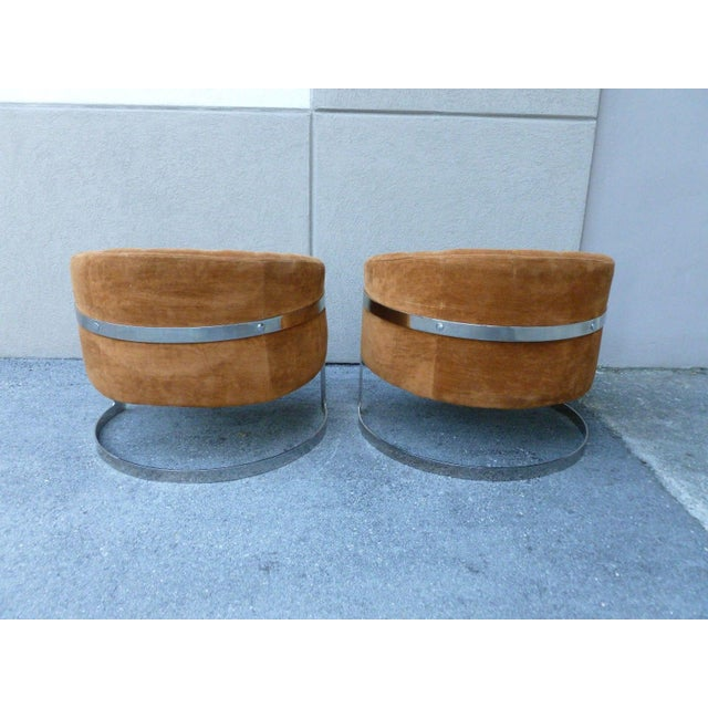 1970s Mid-Century Modern Milo Baughman Semi Circular Tub Lounge Chairs - a Pair For Sale In Miami - Image 6 of 8
