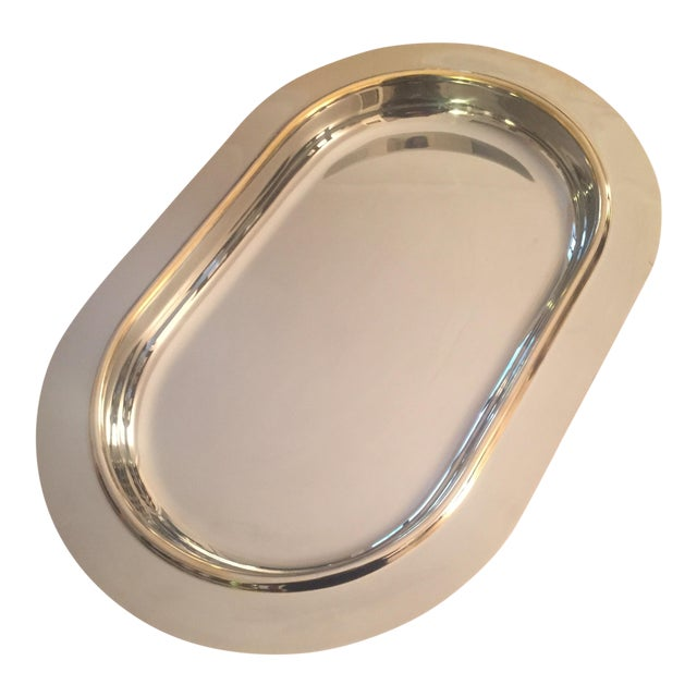 Italian Mid-Century Modern Gold Trim Stainless Steel Tray For Sale