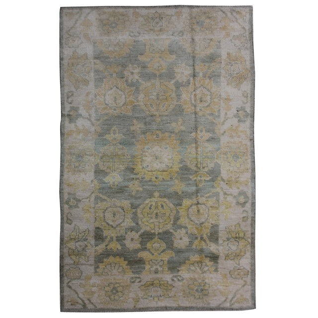 "Aara Rugs Inc. Hand Knotted Oushak Rug - 6'2"" x 4'2"" For Sale"