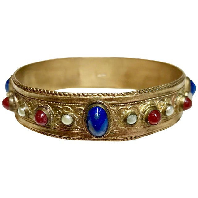Metal 1920s Austrian Lapis-Blue Glass Cabocon Jeweled Bangle For Sale - Image 7 of 7