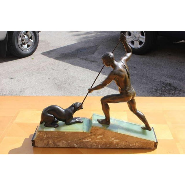Art Deco French Art Deco Patinated Metal Sculpture of Hunter by Lemoine For Sale - Image 3 of 5