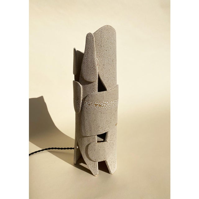 Modern Mat White Sculptural Ceramic Lamp For Sale In Los Angeles - Image 6 of 6