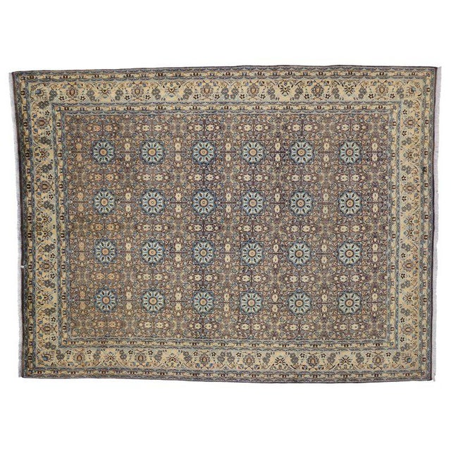 Blue Vintage Persian Moud Mood Rug For Sale - Image 8 of 9