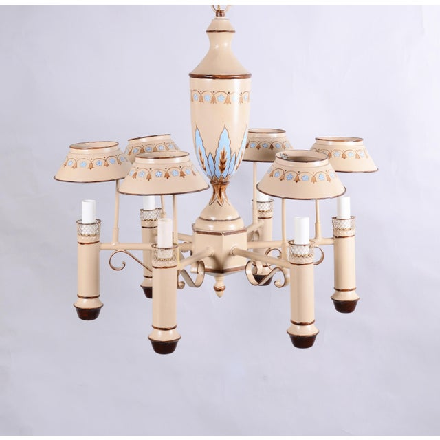 1990s Vintage Chandelier With Six Lamp Holders With Shades For Sale - Image 5 of 10