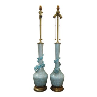 PR Marbro Tiffany Blue Murano Lamps - a Pair For Sale
