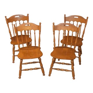 1980s Country Ethan Allen Maple Kitchen Chairs - Set of 4