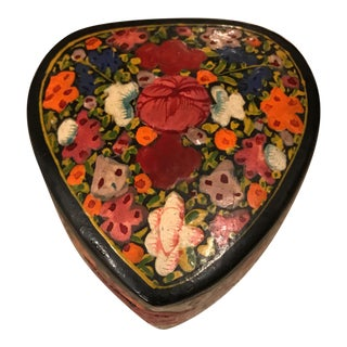 Paper Maché Heart Shaped Trinket Box For Sale