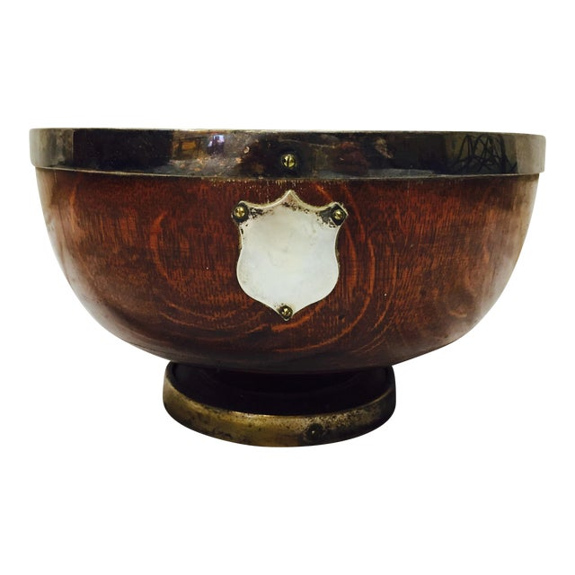 Antique English Oak Mont. Bowl - Image 1 of 8