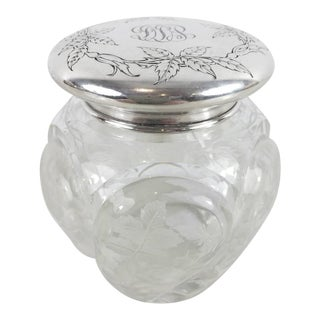 Sinclaire Engraved Glass and Sterling Tea Caddy