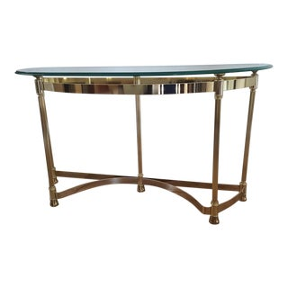 Glass Over Brass Plated Console