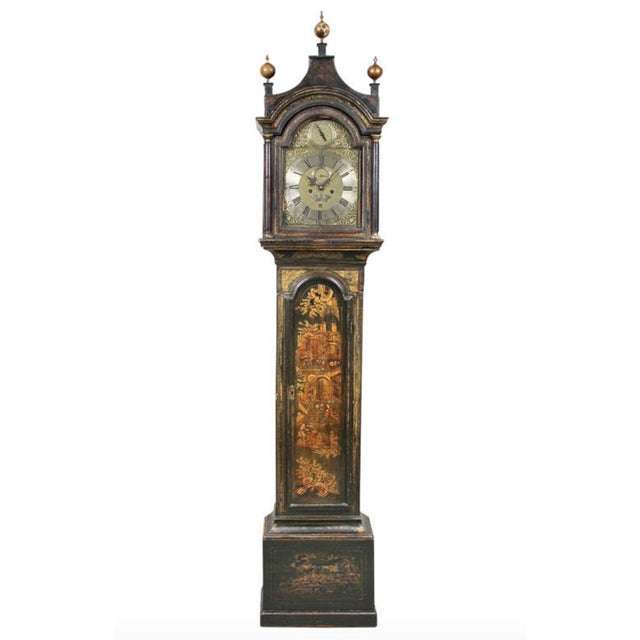George III Green Japanned Tall Case Clock For Sale - Image 11 of 11