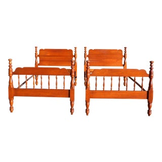 Vintage Pair Solid Cherry Tulip Poster Twin Size Beds Single Bed Frames For Sale