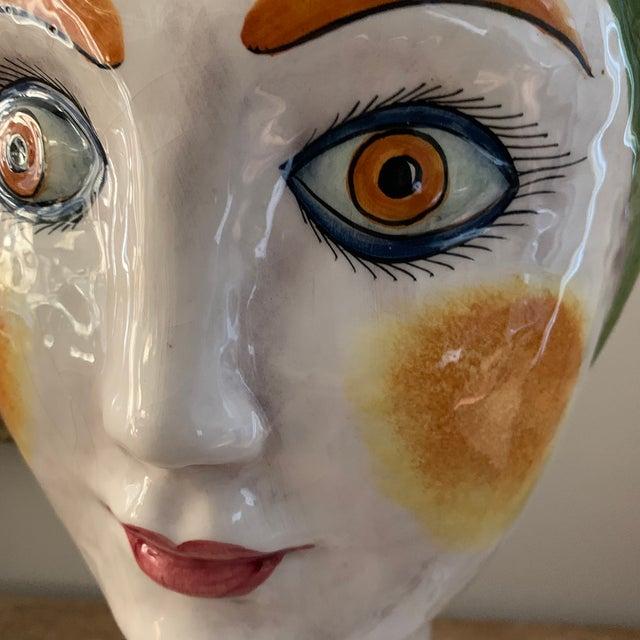 1960s Vintage Italian Ceramic Head Vase For Sale - Image 9 of 10
