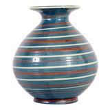 Image of 1930's Vintage Herman A. Kahler of Denmark Striped Blue & Red Art Pottery Vase For Sale