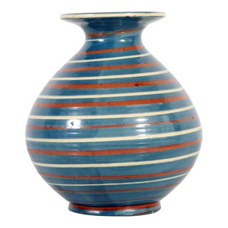 1930's Vintage Herman A. Kahler of Denmark Striped Blue & Red Art Pottery Vase For Sale