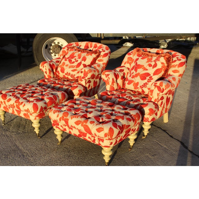 Boho Chic Contemporary Cream With Red Leaf Upholstery Club Chairs With Ottomans - a Pair For Sale - Image 3 of 8