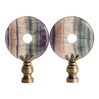 Fluorite Mineral Lamp Finials - a Pair For Sale
