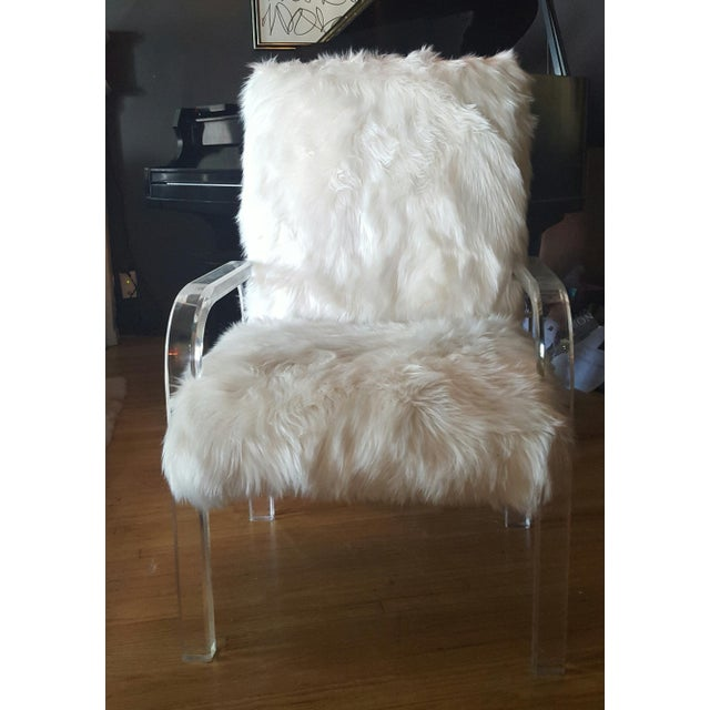 1970's Vintage Faux Fur & Lucite Chairs - Set of 4 - Image 5 of 5