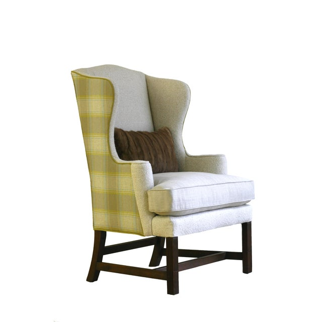 Vintage Plaid Reupholstered Wingback Chair - Image 1 of 4