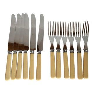 1930s Vintage Firth Sterling Ivory Celluloid Handled Forks and Knife - Set of 12 For Sale