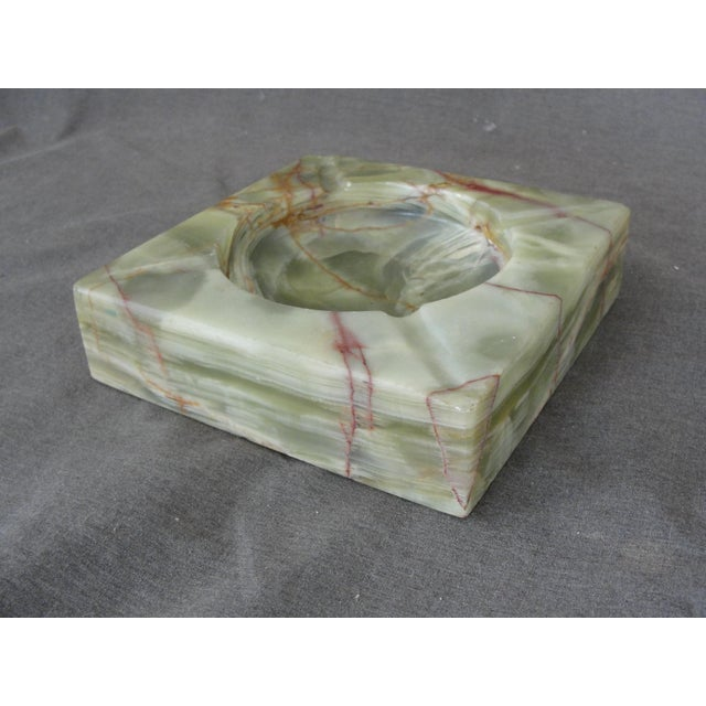 Vintage Mid-Century Modern Square Green Onyx Ashtray For Sale - Image 5 of 6