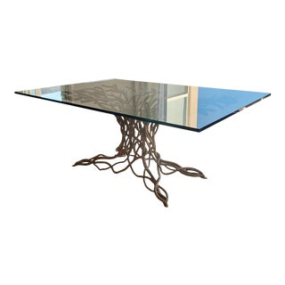Custom Root Table Base With Glass Top For Sale