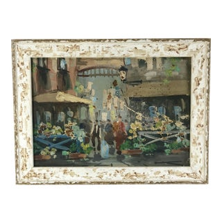 1940s Vintage French Flower Market Framed Oil on Canvas Painting For Sale
